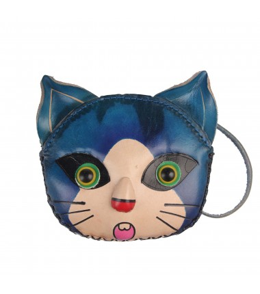 Leather Keychain Cat S382