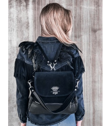 Backpack with feathers R-261 F5 EGO, suede