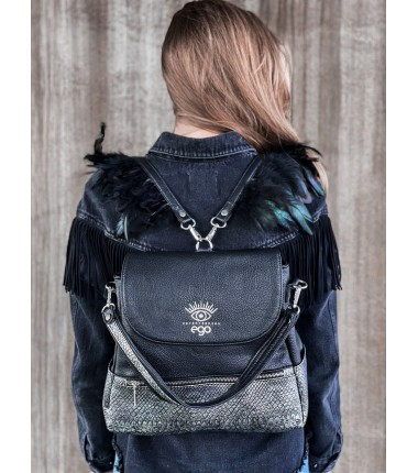 Backpack with feathers R-261 F13 matt